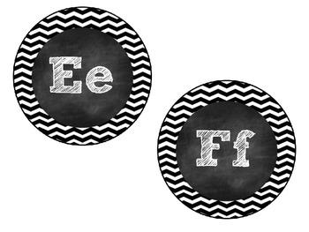Black & White Chevron & Chalk Word Wall Cards