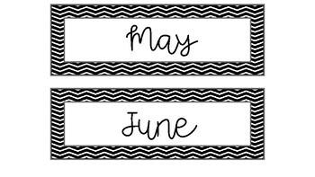 Classroom Calendar Set - Black & White Chevron