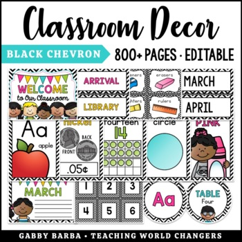 Black & White Chevron Classroom Decor Bundle {500+ pages!}