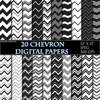 Black White Chevron Digital Papers Geometric Background Zigzag Printable