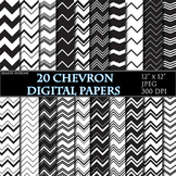 Black White Chevron Digital Papers Geometric Background Zi