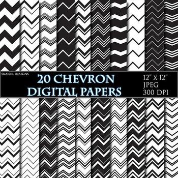Black White Chevron Digital Papers Geometric Background Zi
