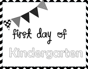 Black & White Chevron First Day of School Signs; Pre-K-5th Grade Included
