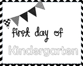 Black & White Chevron First Day of School Signs; Pre-K-5th