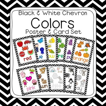Black & White Chevron Learn My Colors Poster Set