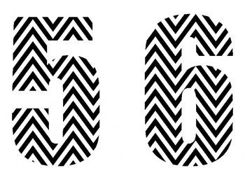 Black & White Chevron Numbers