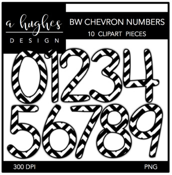Black & White Chevron Numbers Clipart {A Hughes Design}
