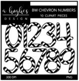 Black & White Chevron Numbers Clipart {A Hughes Design}