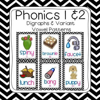 Black & White Chevron Phonics 1 & 2 Sounds Poster Set (120 sounds)