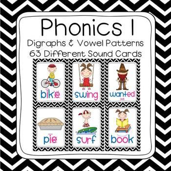Black & White Chevron Phonics 1 Sounds Poster Set (63 sounds)