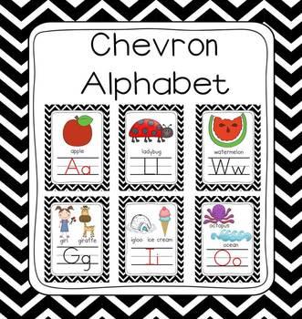 Black & White Chevron Picture Alphabet Border Set (8x10 & 5x7)