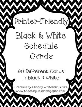 Printer Friendly Black & White Chevron Schedule Cards