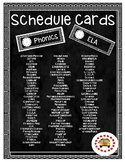 Black & White Chevron Schedule Cards with Clock