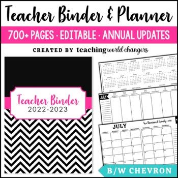 Black & White Chevron Teacher Binder