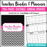 Black & White Chevron Teacher Binder