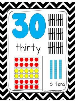 Black & White Chevron 0-30 Number Posters (Ten Frames, Tallies, Base Ten)