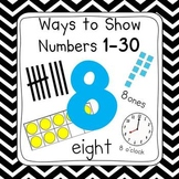 Black & White Chevron 0-30 Number Posters (Ten Frames, Tallies, Base Ten)