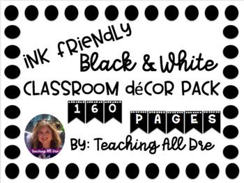 Black & White Classroom Decor Pack