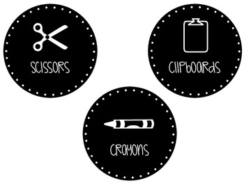Black & White Classroom Supply Labels