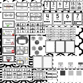 Classroom Theme Decor / Organization - Mega Bundle (Editable!) - Black & White