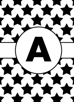 Black & White Collection Binder Covers- Letter A