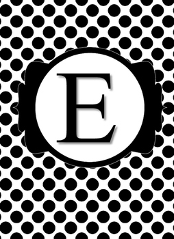 Black & White Collection Binder Covers- Letter E