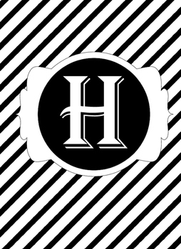 Black & White Collection Binder Covers- Letter H