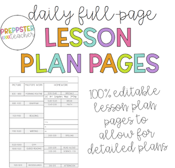 Black & White Daily Lesson Plan Pages