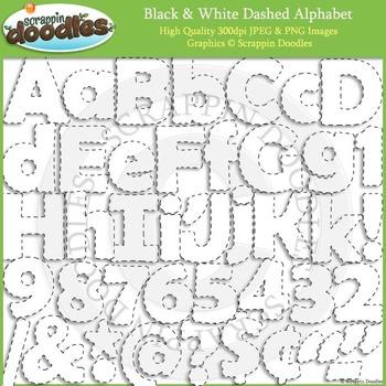 Black & White Dashed Line Alphabet