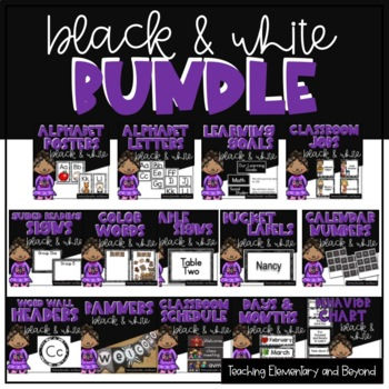 Black and White Bulletin Board Decor Bundle