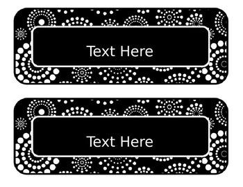Black & White Decor: Editable Subject Labels