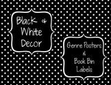 Black & White Decor: Genre Posters & Book Bin Labels