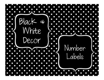 Black & White Decor: Number Labels