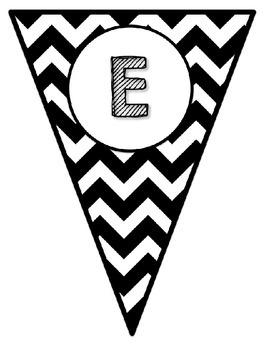 Black & White Decor: Welcome Banner & Editable Pennants