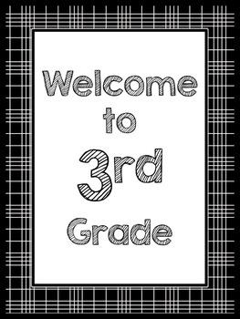 Black & White Decor: Welcome to ____ Grade Poster (Plaid)
