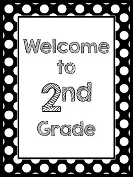 Black & White Decor: Welcome to ____ Grade Poster (Polka Dots)