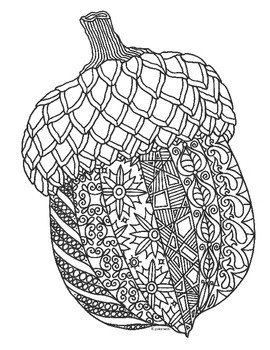 Autumn Acorn Zentangle Coloring Page