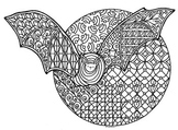 Bat & Full Moon Zentangle Coloring Page