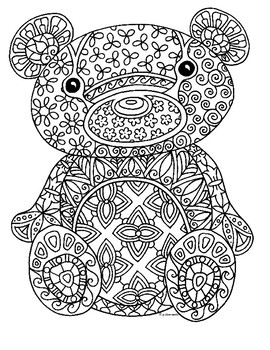 Teddy Bear Zentangle Coloring Page