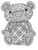 Free Teddy Bear Zentangle Coloring Page