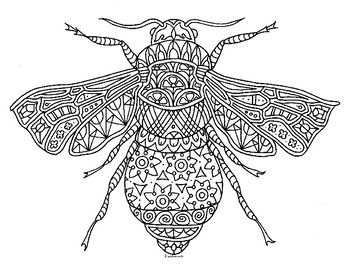 Bumble Bee Insect Zentangle Coloring Page