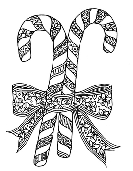 Christmas Holiday Candy Cane Zentangle Coloring Page