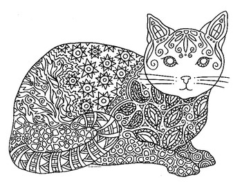 Cat Zentangle Coloring Page By Pamela Kennedy Teachers