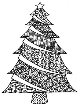 christmas detailed coloring pages | Christmas Tree Zentangle Coloring Page by Pamela Kennedy | TpT