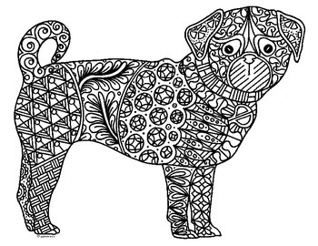 Pug Dog Zentangle Coloring Page By Pamela Kennedy Tpt