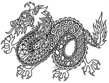 Dragon zentangle coloring page by pamela kennedy tpt for Chinese new year dragon coloring page