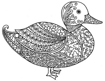 duck zentangle coloring page - Zentangle Coloring Pages