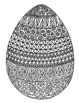 Spring Easter Egg Zentangle Coloring Page