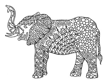 free zentangle elephant coloring pages - photo#24