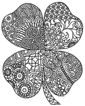 St. Patrick's Day Four Leaf Clover Shamrock Zentangle Coloring Page